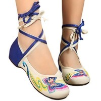 Canvas Old Beijing Cloth Embroidered Shoes   white
