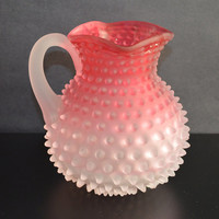 Hobbs Pitcher / Cranberry Glass / Frosted Glass / Art Glass Pitcher / Cranberry Hobnail Pitcher / Victorian Glass Pitcher