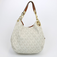 Michael Kors Fulton Canvas Large Shoulder Bag