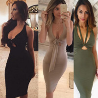 Sleeveless Sexy Women's Fashion One Piece Dress [9342355652]