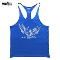 MUSCLE ALIVE Gym Tank Tops Men Sports Wear For Men Bodybuilding Stringer Fitness Training Vests Cotton Sleeveless Running