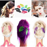 10pcs Women Girls Cute Creepy Plastic Skeleton Skull Hands Hair Clip Hairpin (Color: Multicolor) = 1741713156