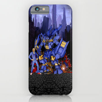 12th Doctor with Dalek Buster Robot Phone Box iPhone 4 4s 5 5c 6, pillow case, mugs and tshirt iPhone & iPod Case by Three Second
