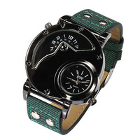 Mens Greem Leather Strap Watch Casual Sports Unique Watches +  Beautiful Gift Box