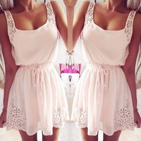 Fashion women Summer Casual Dress 2014 New Elegant Sleeveless mini Women party dresses Pink = 1667746756