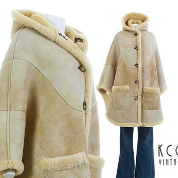 Shearling Cape Coat Sheepskin Suede Coat WARMEST Winter Jacket FRENCH CREEK Made in Pennsylvania Vintage Clothing One Size Fits All osfa
