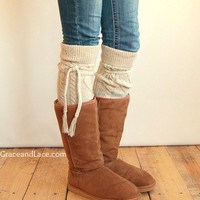 Alpine Thigh High Slouch Sock - Tweed thick cable knit socks w/ fold over cuff and tassel tie - boot sock leg warmer (item no. 6-30)