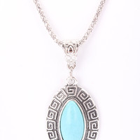 Teal Detailed Oval Design Centered Pendant Accent Mesh Necklace