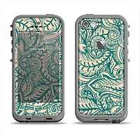 The Delicate Green & Tan Floral Lace Apple iPhone 5c LifeProof Fre Case Skin Set