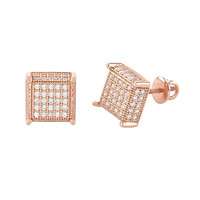 Screwback Earrings Sterling Silver Rose Gold 9mm Square 3d 2 Row CZ Sidestones