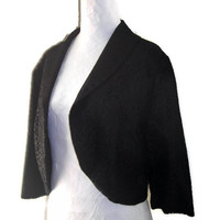 Vintage 1960's Black Lace Bolero Jacket, 3/4 Length Sleeve Lined Black Lace Jacket, Boxy Roomy Cropped Jacket, Price Includes US Shipping