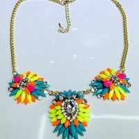 New Neon Rainbow Crystal Floral Statement Necklace Private Label one size by Alisha's Fashion ~MAKE ME AN OFFER~