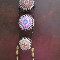 Ethnic Embroided Long Necklace, Ecofrinedly Textile Traditional Natural Jewelry