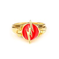 MQCHUN The Flash Rings Gold Color Justice League DC Comics Superman Jewelry For Men Women Ring (Can be opened )