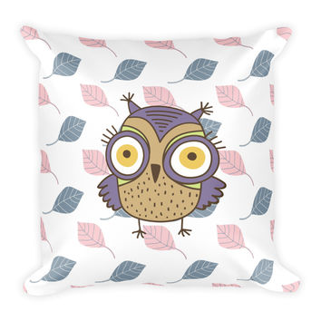 Owl and Leaf Square Pillow