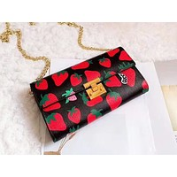 GUCCI hot selling lady's casual shoulder bag fashionable strawberry print shopping bag #2