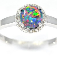 Simulated Black Opal & Diamond Round Ring .925 Sterling Silver Rhodium Finish AVAILABLE IN ANY SIZE 4 TO SIZE 10 1/2 MESSAGE US THE EXACT SIZE YOU WANT AFTER PURCHASE