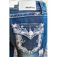 GRACE IN L.A. PAISLEY BORDER BOOTCUT JEANS
