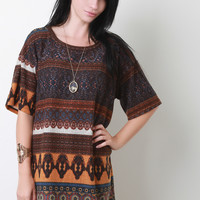 Moroccan Print Knit Shift Dress