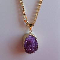 "Druzy Necklace, Fine quality Boho jewelry, Impressive purple Druzy dipped in 18k Gold & hung with 18k Gold Filled 21"" Chain"