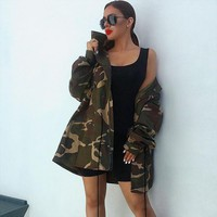 Women Casual Camouflage Drawstring Zip Cardigan Long Sleeve Lapel Middle Long Section Windbreaker Coat