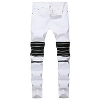 Slim Fit Jeans  Zippers Casual Stretch Skinny Trousers Denim Pants for Men