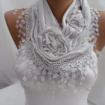 Light Gray Cotton Shawl/ Scarf - Headband - Cowl with Lace Edge - Spring Trends