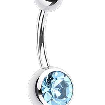 316L Surgical Steel 'Add-On Dangle' Glass-Gem Ball Belly Button Ring