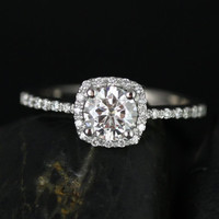 Barra Ultra Petite Size 14kt White Gold Round FB Moissanite and Diamond Cushion Halo Engagement Ring (Other Stone and Metals Available)