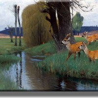 Deer Crossing River Hunting Picture on Stretched Canvas, Wall Art Decor, Ready to Hang!