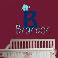 Wall Decals Boy Personalized Name Little Elephant Home Vinyl Decal Sticker Kids Nursery Baby Room Decor kk630