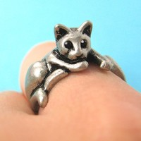 Relaxing Kitty Cat Animal Wrap Around Ring in Silver - Sizes 4 to 9 Available