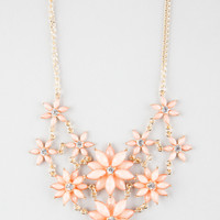 Full Tilt 2 Row Facet Flower Statement Necklace Coral One Size For Women 25576331301