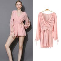 Pink Long Open Sleeve V-Neck Ruched Mini Dress