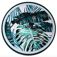 Palm Leaves Beach Mat in Aqua and White