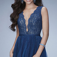 Deep V-Neck Blue Tulle Homecoming Dress