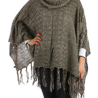 Green Knitted Turtleneck Poncho