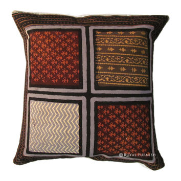 Multicolor Hand Block Square Decorative Throw Pillow Cover