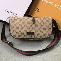 Gucci Woman Men Fashion Leather Waist Bag Satchel Crossbody Shoulder Bag-1
