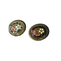 Italian Micro Mosaic Earrings - Screw Back Earrings - Vintage Micro Mosaic Earrings