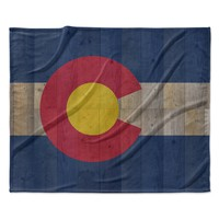 """Bruce Stanfield """"Flag of Colorado"""" Blue Red Fleece Throw Blanket"""