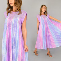 70's Pastel Rainbow GAUZE Dress