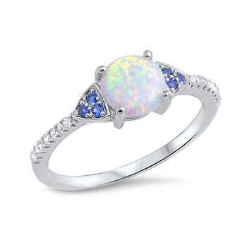 Sterling Silver Round Created White Opal Simulated Blue Sapphire and CZ Ring