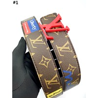 LV new men and women models personality wild smooth buckle belt