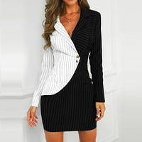 Sexy Office Lady V-neck Contrast Color Striped Insert Blazer Dress Women Spring Long Sleeve Turn-down Collar Mini Bodycon Dress