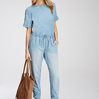 Life in Progress Drawstring Denim Jumpsuit