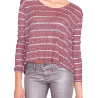 Restless Stripe Sweater Top - Red