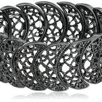 1928 Jewelry Vintage Lace Half-Circle Filigree Stretch Bracelet, 7""