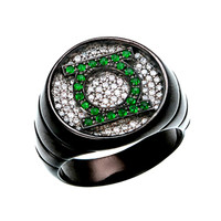 Green Lantern Silver Ring Black Iced Out CZ Jewelry