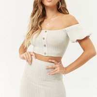 Ribbed Off-the-Shoulder Crop Top & Bodycon Skirt Set